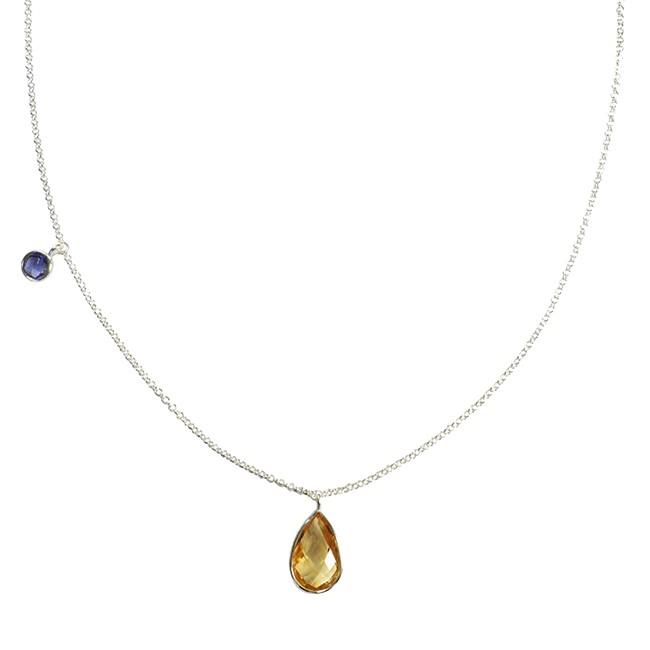 Clara Necklace Citrine Tanzanite Silver