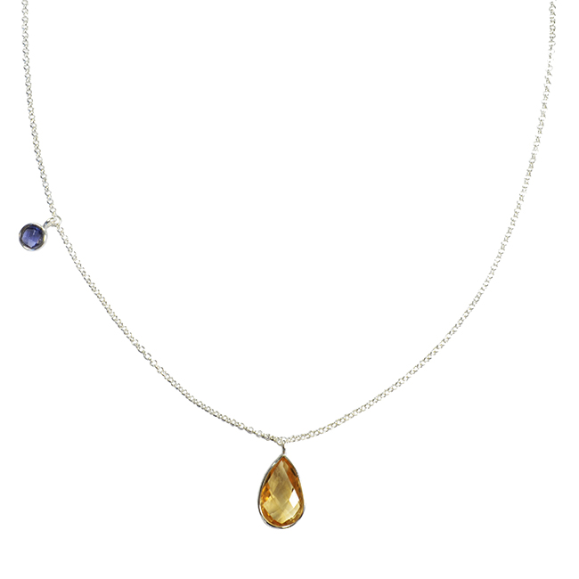 Clara Necklace Citrine Tanzanite Silver