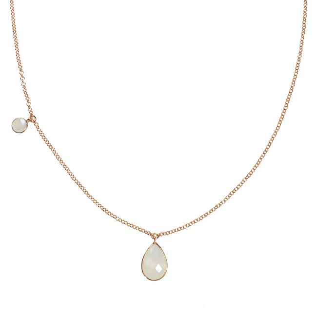 Clara Necklace Moonstone Rose Gold