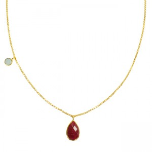 Clara Necklace Ruby Aqua Chalcedony