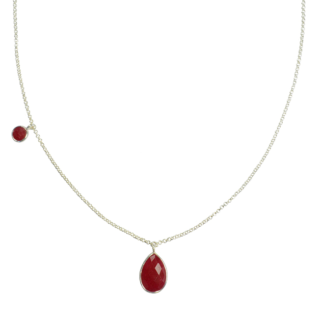 Clara Necklace Ruby Silver