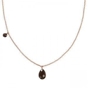 Clara Necklace Smoky Quartz Rose Gold