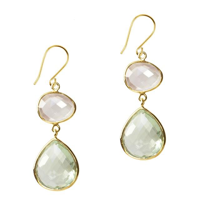Esme Double Drop Earrings Green Amethyst Rose Quartz