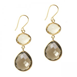 Esme Double Drop Earrings Labradorite Citrine