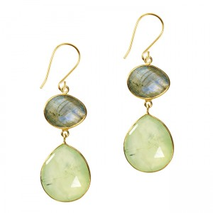 Esme Double Drop Earrings Prehnite Labradorite