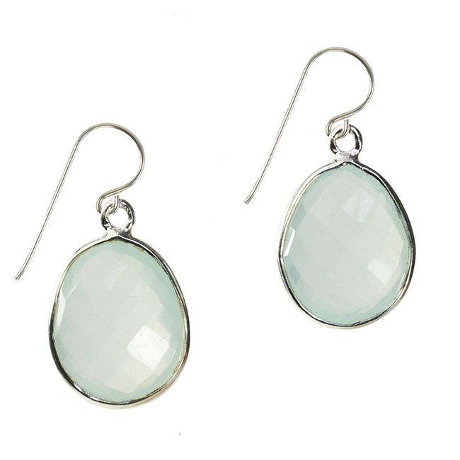 Esme Earrings Aqua Chalcedony Silver