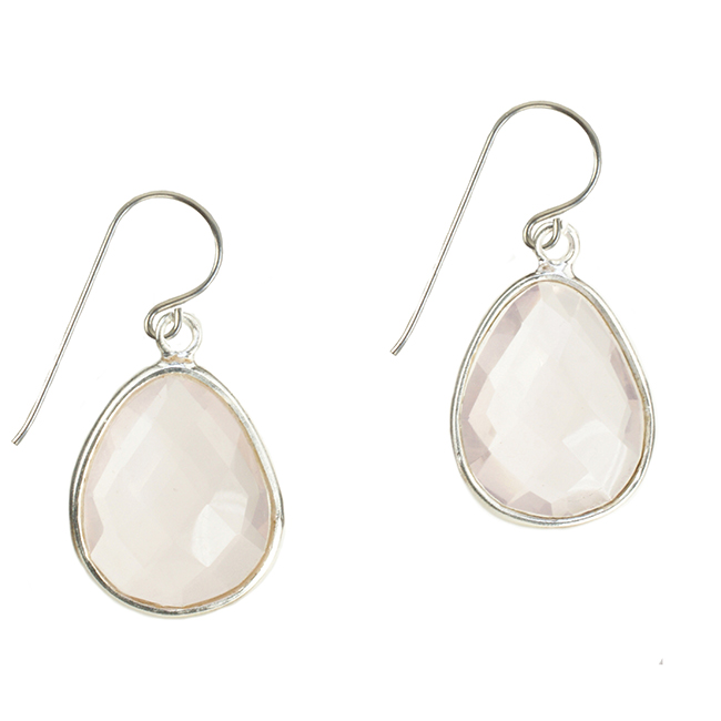 Esme Earrings Rose Quartz Silver