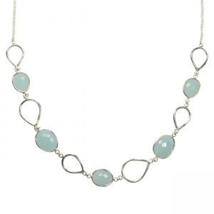 Esme Necklace Aqua Chalcedony Silver