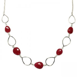 Esme Necklace Ruby Silver
