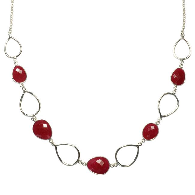 Esme Necklace Ruby Silver