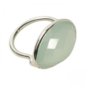Esme Ring Aqua Chalcedony Silver