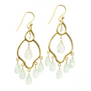 Jasmine Earrings Aqua Chalcedony Moonstone