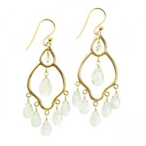 Jasmine Earrings Aqua Chalcedony Moonstone