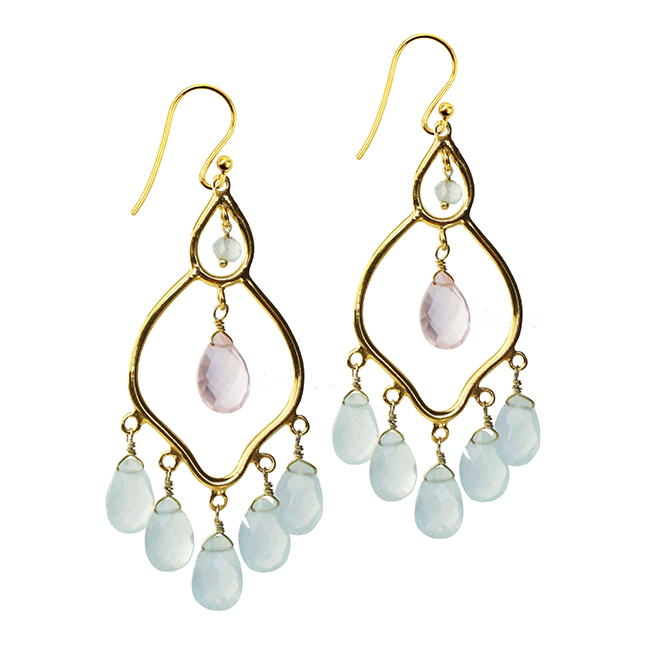 Jasmine Earrings Aqua Chalcedony Rose Quartz