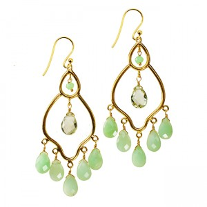 Jasmine Earrings Chrysoprase Green Amethyst