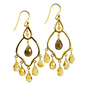 Jasmine Earrings Citrine Smoky Quartz