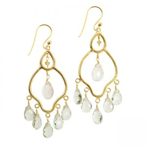 Jasmine Earrings Green Amethyst Rose Quartz