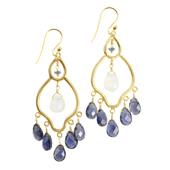 Jasmine Earrings Iolite Moonstone