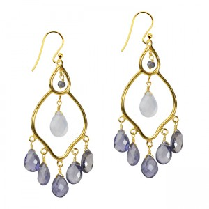 Jasmine Earrings Iolite Natural Chalcedony