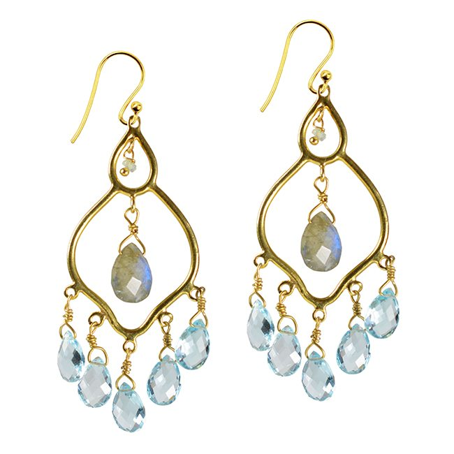 Jasmine Earrings Labradorite Blue Topaz