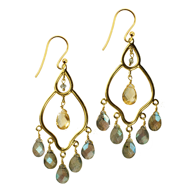 Jasmine Earrings Labradorite Citrine