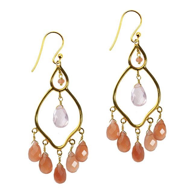 Jasmine Earrings Peach Moonstone Rose Quartz