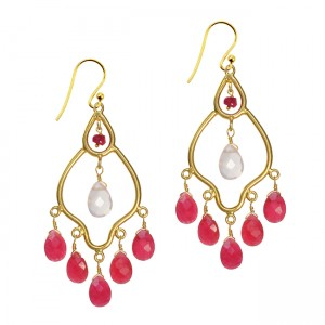 Jasmine Earrings Ruby Rose Quartz