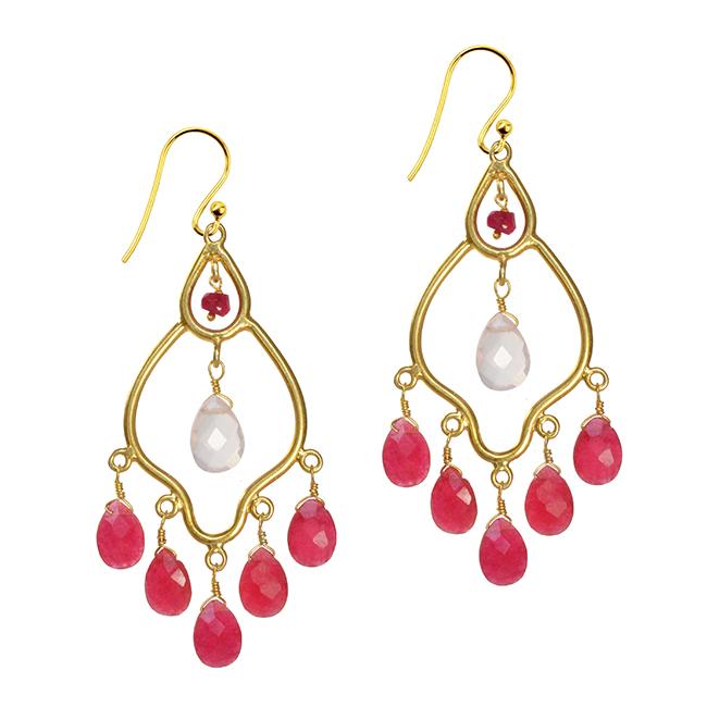 Jasmine Earrings Ruby Rose Quartz