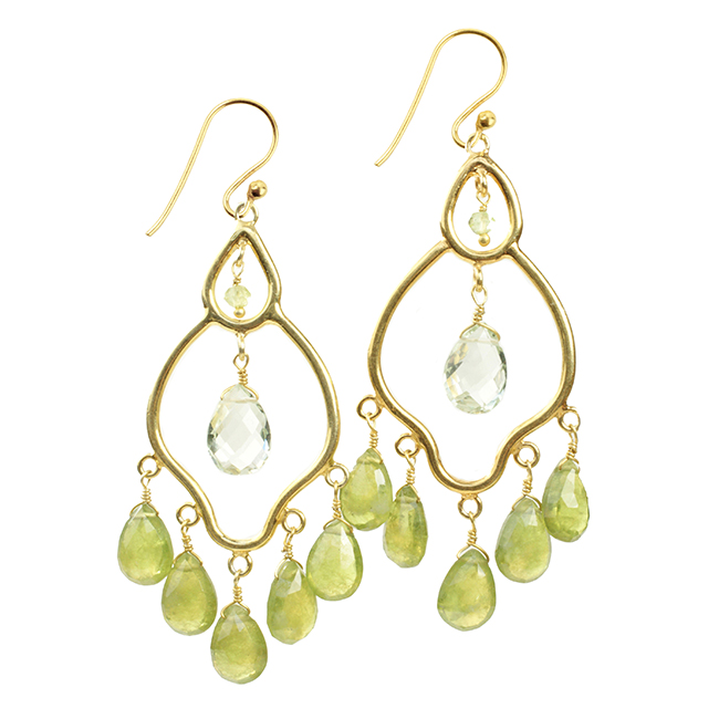Jasmine Earrings Vessonite Green Amethyst