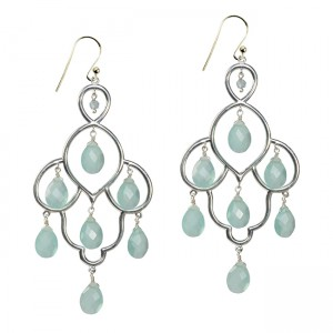 Layla Earrings Aqua Chalcedony Silver