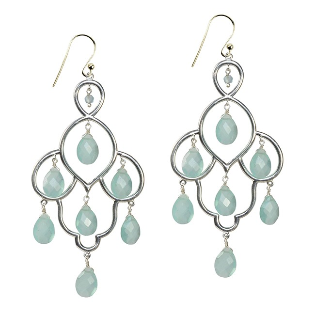 Layla Earrings Aqua Chalcedony Silver