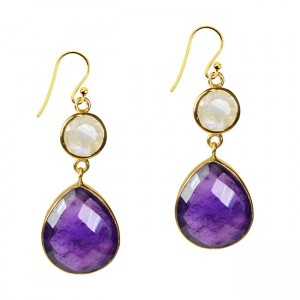 Portia Earrings Amethyst Moonstone