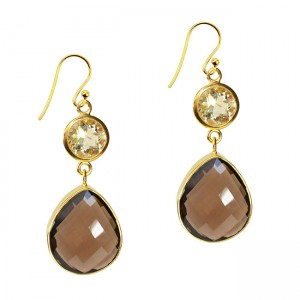 Portia Earrings Citrine Smoky Quartz