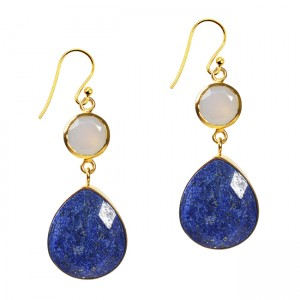 Portia Earrings Lapis Lazuli Natural Chalcedony