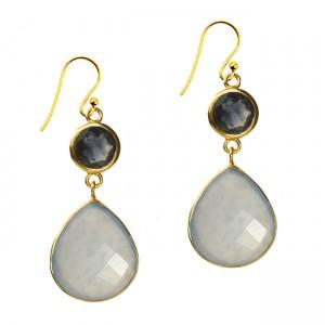 Portia Earrings Natural Chalcedony Iolite