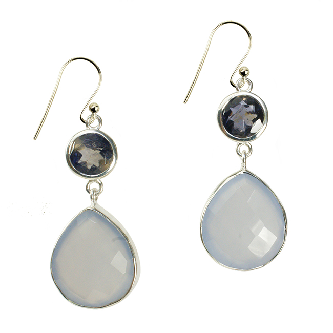 Portia Earrings Natural Chalcedony Iolite Silver