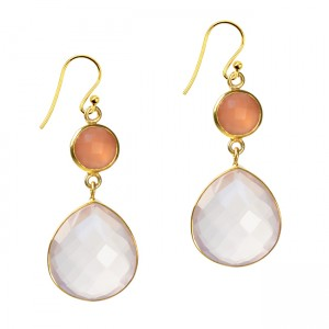 Portia Earrings Peach Moonstone Rose Quartz