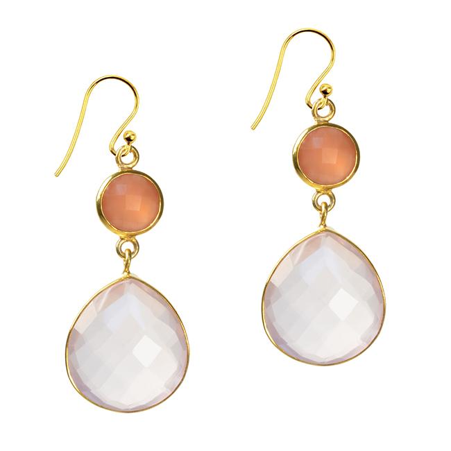 Portia Earrings Peach Moonstone Rose Quartz