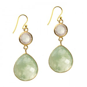 Portia Earrings Prehnite Rose Quartz