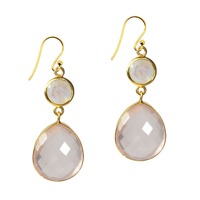 Portia Earrings Rose Quartz Moonstone
