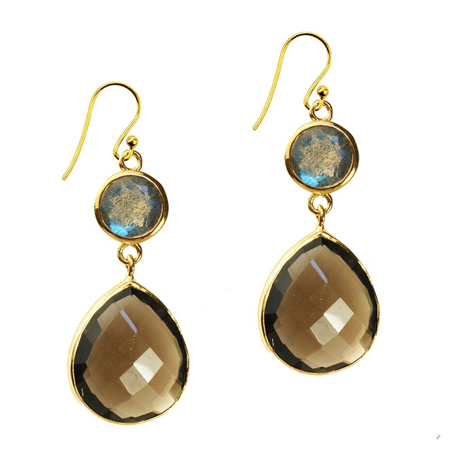 Portia Earrings Smoky Quartz Labradorite
