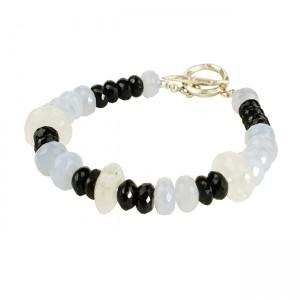 Sofia Chalcedony Moonstone Black Spinal Bracelet