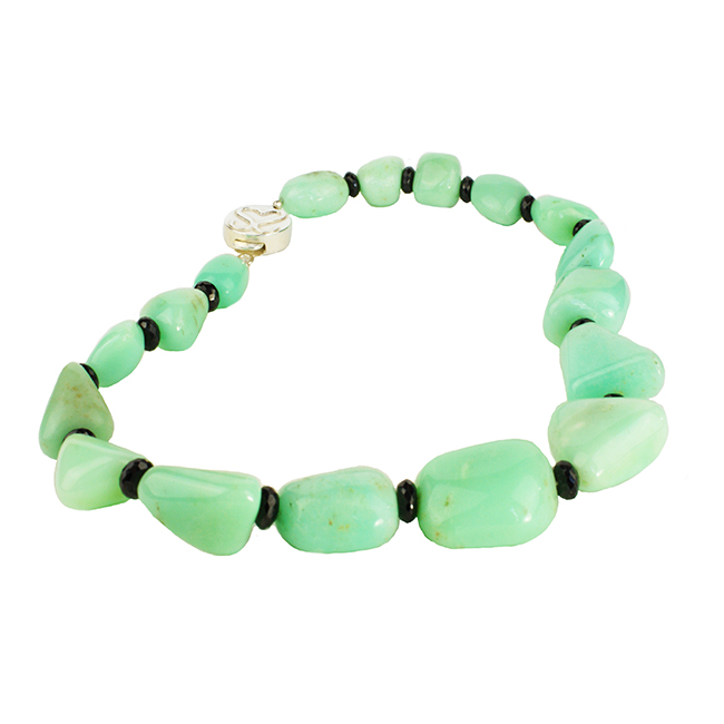 Sofia Chrysoprase and Black Spinel Necklace
