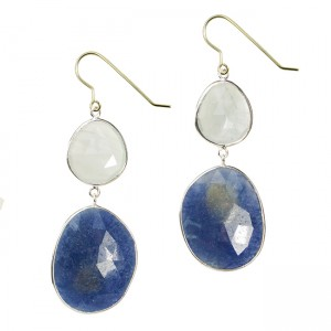 Talitha Earrings Aquamarine Blue Sapphire Silver