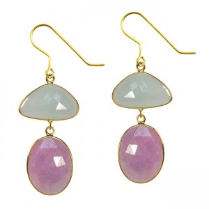 Talitha Earrings Aquamarine Pink Sapphire