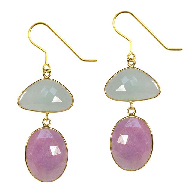 Talitha Earrings Aquamarine Pink Sapphire