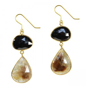 Talitha Earrings Black Spinel Moss Sapphire