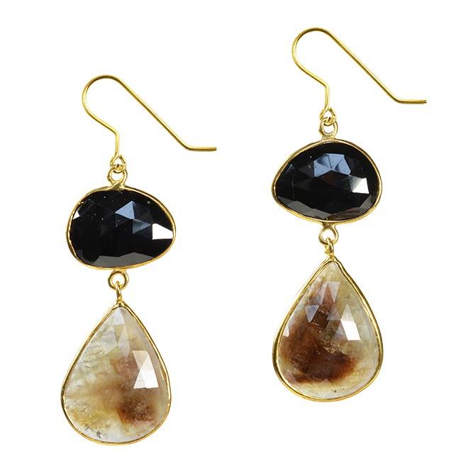 Talitha Earrings Black Spinel Moss Sapphire
