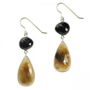 Talitha Earrings Black Spinel Moss Sapphire Silver