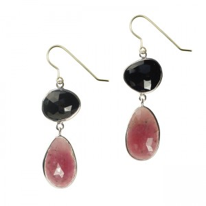 Talitha Earrings Black Spinel Pink Sapphire Silver